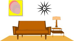 Fifties living room. Design of interior of fifties living room over white vector Royalty Free Stock Image