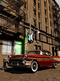 Fifties Musical Studio. Classic chevrolet car close to the entrance of a musical studio with a guitar as a sign Stock Photography