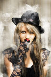 Fifties portrait of smoking hot beautiful woman Stock Photo