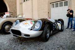 Fifties prototype at Bergamo Historic Grand Prix 2017. A silver fifties prototype parked among other classic cars in the Citadel`s square in Citta` Alta the Stock Images
