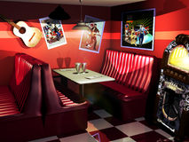 Fifties restaurant. Interior of fifties styled restaurant with bench seats, musical fifties images  at the walls, and checkerboard floor Stock Images