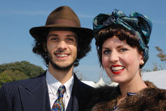 Fifties retro couple. Young couple in fifties vintage costume at Goodwood Revival event, UK Royalty Free Stock Photo