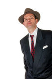 Fifties retro man wearing trilby, on white Stock Image