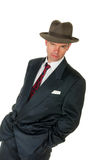Fifties retro man wearing trilby, on white Stock Photos