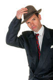 Fifties retro man wearing trilby, on white Royalty Free Stock Images
