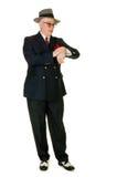 Fifties retro man wearing trilby, on white Royalty Free Stock Photos