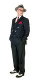 Fifties retro man wearing trilby, on white Royalty Free Stock Image