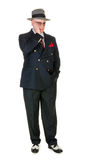 Fifties retro man wearing trilby, on white Royalty Free Stock Photo