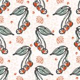Fifties Style Cherries Sketchy Vector Pattern, Hand Drawn Stylized Cherry Food Illustration, stock illustration