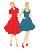 Fifties style of clothes. Vector illustration of pretty girls in elegant blue and red dress. Fifties style of clothes Stock Photos