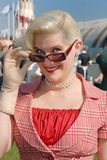 Fifties style glamorous young blond. Fifties vintage costume at Goodwood Revival event, UK Stock Image