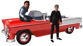 Fifties Teenagers Classic Car Isolated. Teenagers illustration from the fifties. The young couple is hanging out with an old retro vintage classic car Royalty Free Stock Photos