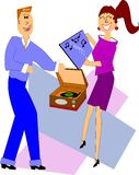 Fifties teens playing records. Teens from fifties playing records on their 45 rpm portable player and dancing Stock Images
