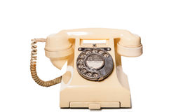 Fifties GPO vintage ivory telephone. Fifties vintage British GPO 332L ivory color bakelite telephone Stock Photography