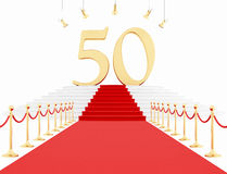 Fiftieth anniversary anniversary on the red carpet. Fiftieth anniversary with red carpet isolated on white-rendering Stock Photo