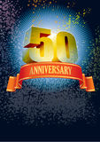 Fiftieth anniversary. Background with design elements for the poster celebrating fiftieth anniversary stock illustration