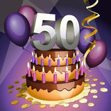 Fiftieth anniversary cake. With numbers, candles and balloons Royalty Free Stock Image