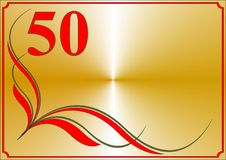 Fiftieth anniversary card. Horizontal anniversary card on a gold background Royalty Free Stock Photography