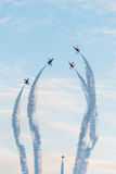 Fiftieth anniversary of the Singapore 50 years National Day rehearsal, fighter formation flew over the city Royalty Free Stock Photos