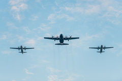 Fiftieth anniversary of the Singapore 50 years National Day rehearsal, fighter formation flew over the city Stock Photos