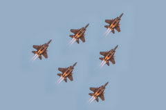 Fiftieth anniversary of the Singapore 50 years National Day rehearsal, fighter formation flew over the city Stock Image