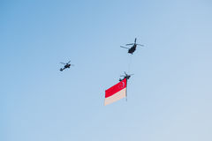 Fiftieth anniversary of the Singapore 50 years National Day rehearsal, fighter formation flew over the city Royalty Free Stock Photography