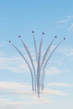 Fiftieth anniversary of the Singapore 50 years National Day rehearsal, fighter formation flew over the city Royalty Free Stock Image