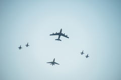 Fiftieth anniversary of the Singapore 50 years National Day rehearsal, fighter formation flew over the city Stock Photography
