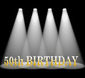 Fiftieth Birthday Means Beam Of Light And Spot. Fiftieth Birthday Showing Celebrate And Beam Of Light Royalty Free Stock Photography