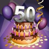 Fiftieth bolo do aniversário ilustração do vetor