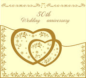 Fiftieth wedding invitation  illustration. Fiftieth beautiful  wedding invitation  and scaleable  illustration Stock Images