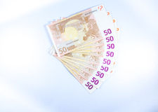 Fifty €50 Euro notes fanned out. Royalty Free Stock Photo