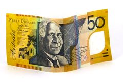 Fifty. Australian fifty dollar note on white background Royalty Free Stock Photos