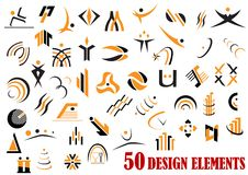 Fifty abstract design elements in black and yellow Stock Images