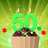 Fifty Candle On Cupcake Shows Fiftieth Stock Image