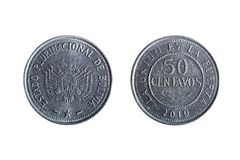 Fifty cent bolivian coin royalty free stock image
