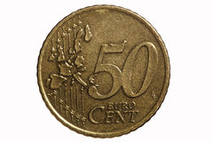 Fifty-cent euro coin Stock Photos