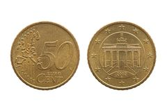Fifty cent euro coin of Germany. Dated 2002 showing the Brandenburg Gate on the reverse cut out and isolated on a white background stock photo