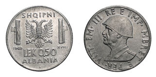 Fifty 50 cents LEK Albania Colony acmonital Coin 1940 Vittorio Emanuele III Kingdom of Italy, World war II Stock Photography