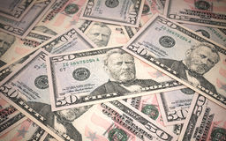 Fifty dollar banknotes. 3d render Fifty dollar banknotes stacks close-up (depth of field Stock Image