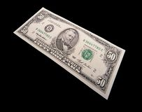 Fifty Dollar Bill. On black background Stock Image