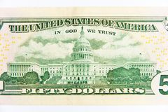 Fifty dollar bill. The capitol building as depicted on the us $50 Dollar Bill royalty free stock photography