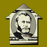Fifty dollar bill detail. The portrait of Grant from a fifty dollar bill in an up arrow on a green background Royalty Free Stock Photo