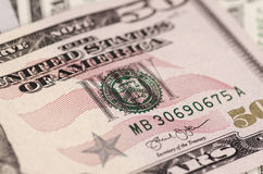 Fifty-dollar bill. SARANSK, RUSSIA - FEBRUARY 5, 2017: Closeup shot of United States fifty-dollar bill Royalty Free Stock Photos