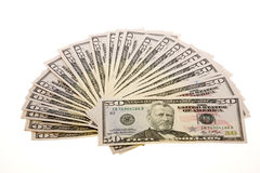 Fifty Dollar Bills. US Currency Fifty Dollar Bills arranged, isolated on white background Royalty Free Stock Photos