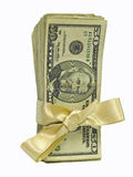 Fifty Dollar Bills Tied in Gold Ribbons. Bundles of cash tied with a Gold Ribbon.  Perfect for Gifts Royalty Free Stock Photo