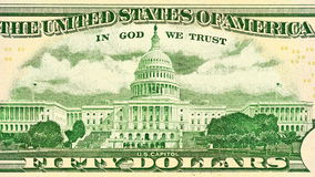 Fifty dollar close-up. Capitol Building as depicted on the backsideof the bill Royalty Free Stock Photos
