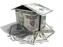 Fifty dollar house. A house made from few fifty US dollar banknotes on white background Stock Photo