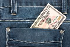 Fifty dollar in pocket Royalty Free Stock Image