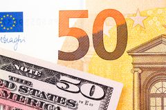 Fifty dollar USA and fifty euro background. High resolution photo Royalty Free Stock Photography